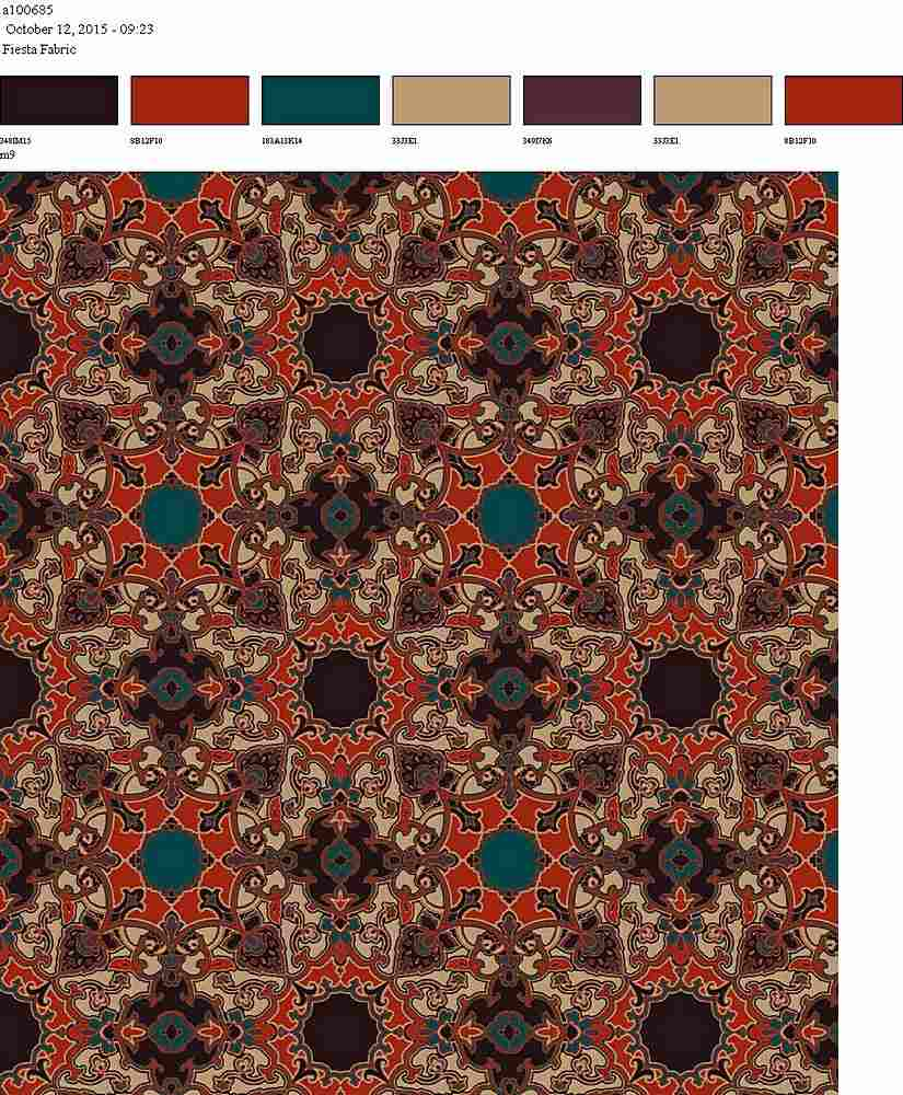 206-A100685-64 / TAN RED                 / 100% Rayon Gauze Print