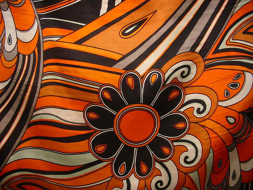FIE-206-402-1 / 4 ORANGE                 / SILK CHIFFON PRINT 100% SILK