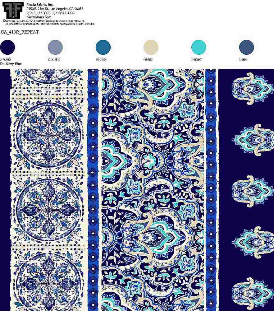 CA-413R-35 / D4 NAVY BLUE / 100% RAYON ChALLIS PRINT