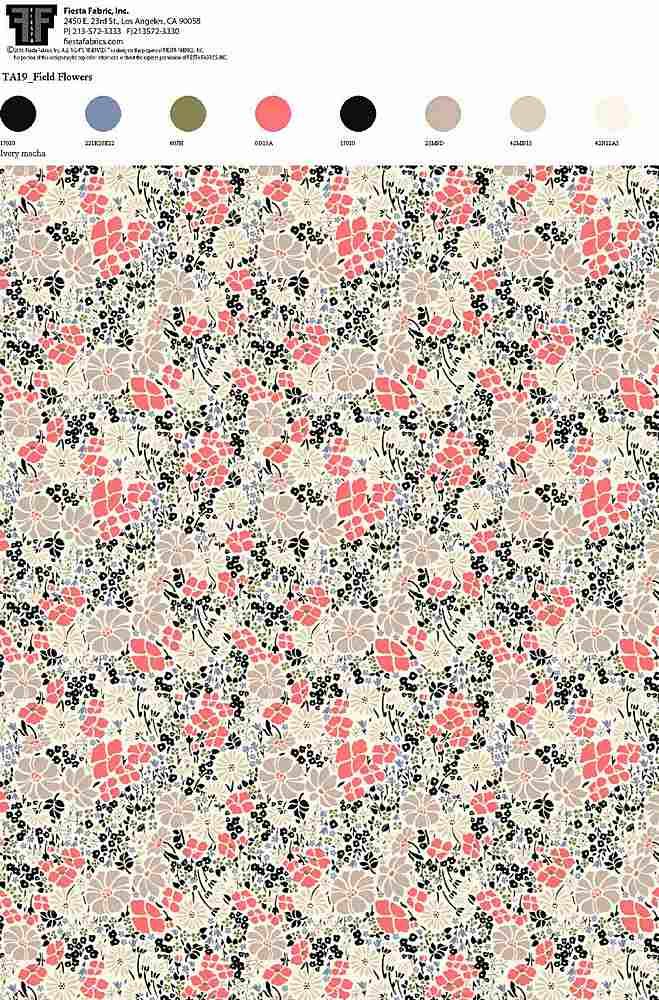 TA019-35 / IVORY MOCHA         / 100% Rayon Challis Print