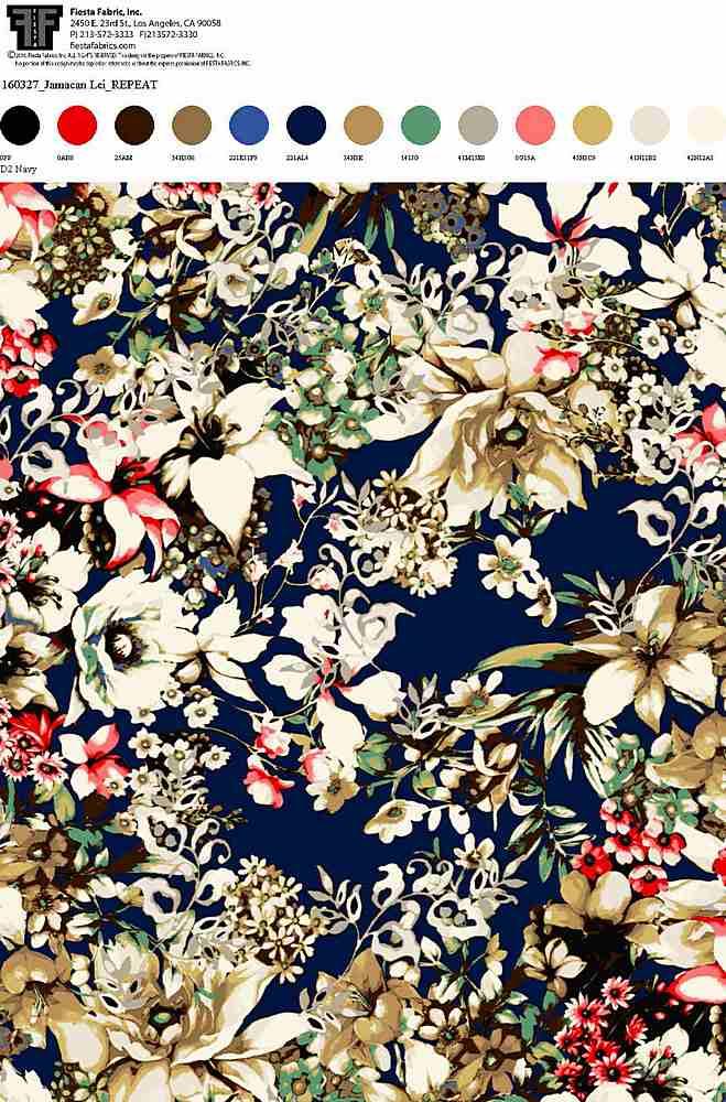 160327-35 / NAVY         / 100% Rayon Challis Print