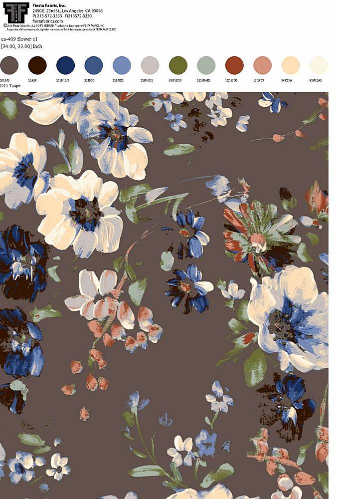 CA-409-30 / D15 TAUPE                 / Rayon Spandex Jersey Print 180gsm