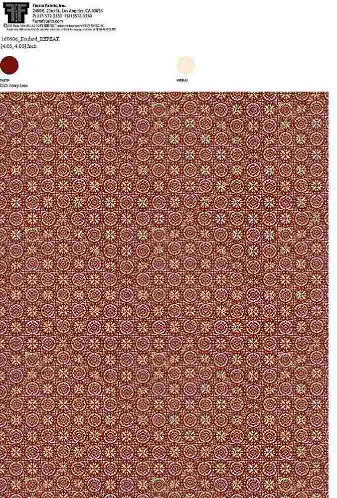 160606-35 / IVORY IRON         / 100% Rayon Challis Print