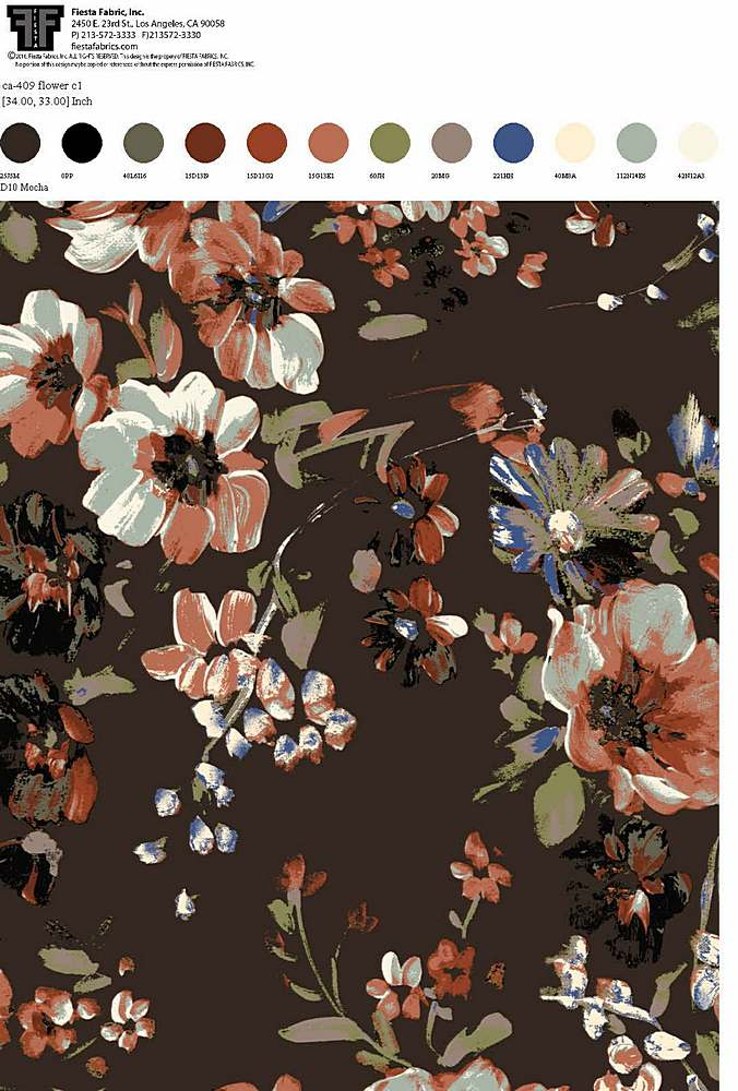 CA-409-30 / D10 MOCHA         / Rayon Spandex Jersey Print 180gsm