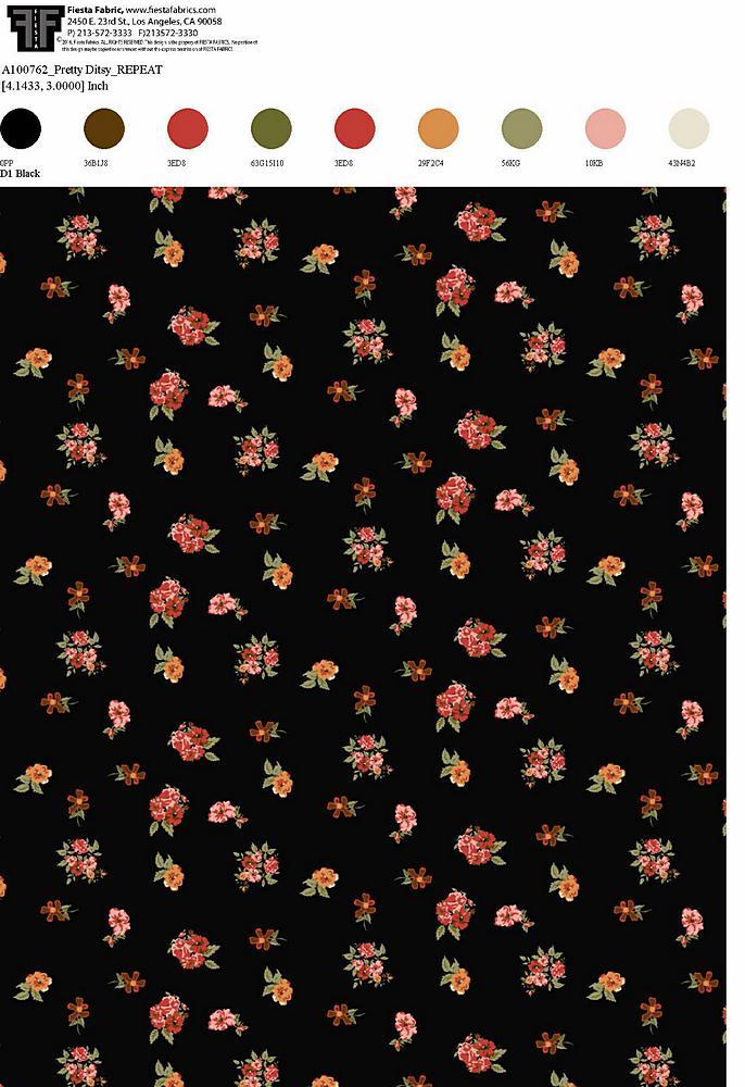206-A100762-30 / BLACK         / Rayon Spandex Jersey Print 180gsm