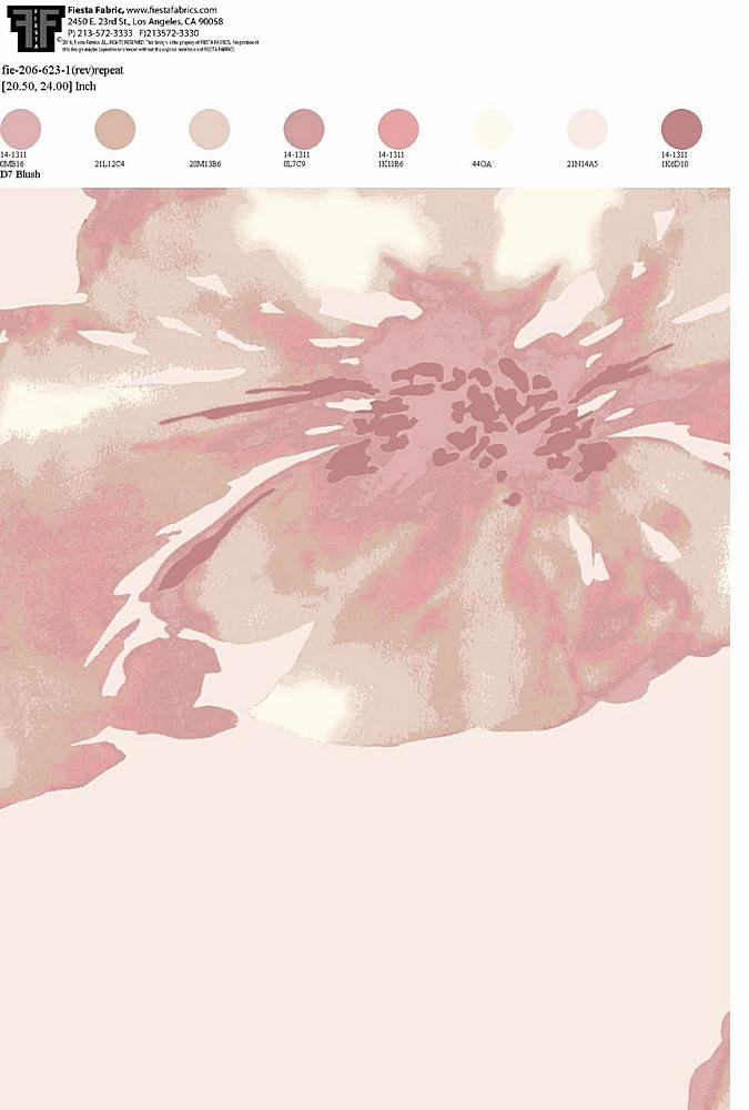 FIE-206-623-35 / BLUSH                 / 100% Rayon Challis Print