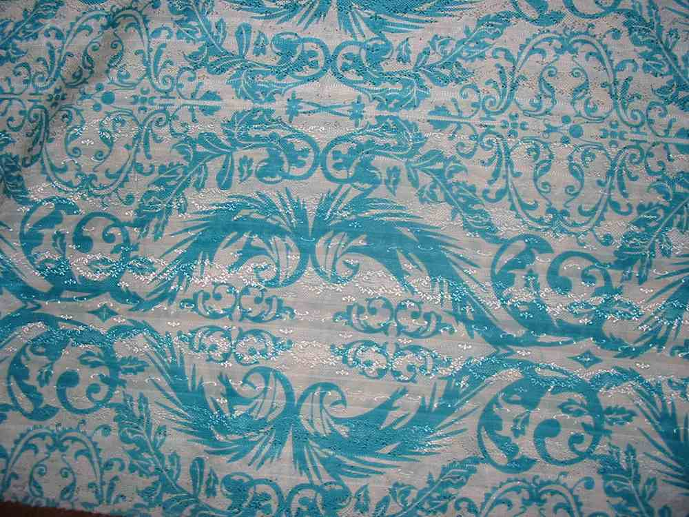 #678 / TURQ.         / SILK/COTTON JACQUARD PRINT