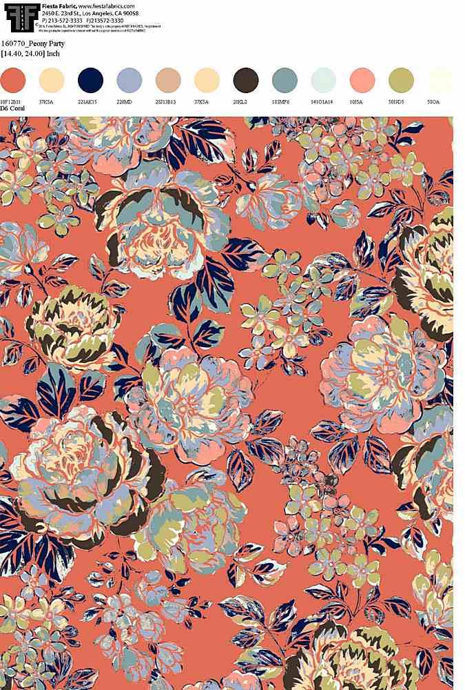 160770R-30 / D6 CORAL                 / Rayon Spandex Jersey Print 180gsm