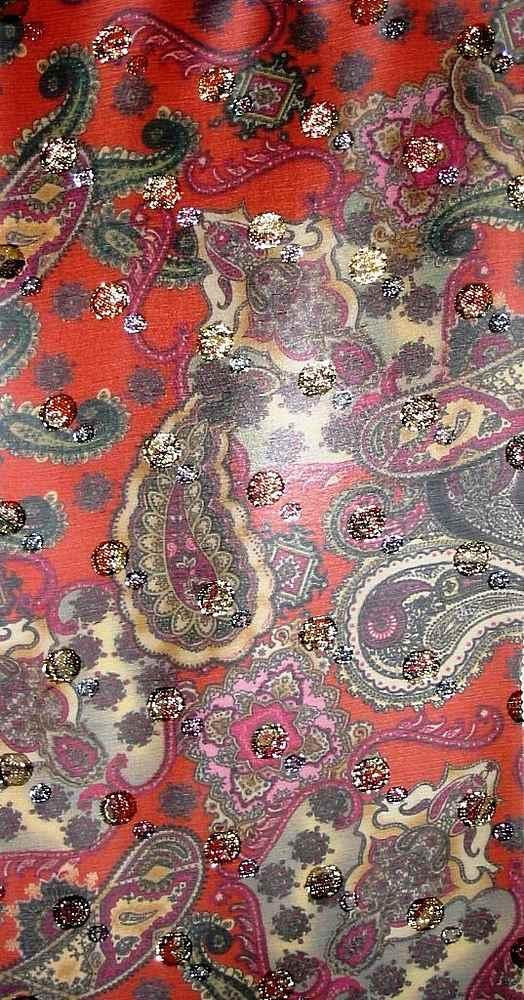 FIE-2006-170 / CORAL         / Dot Lurex Silk Crinkle Chiffon Print