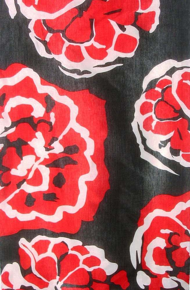 Y5019/2 C / BLACK/RED         / SILK/COTTON VOILE PRINT