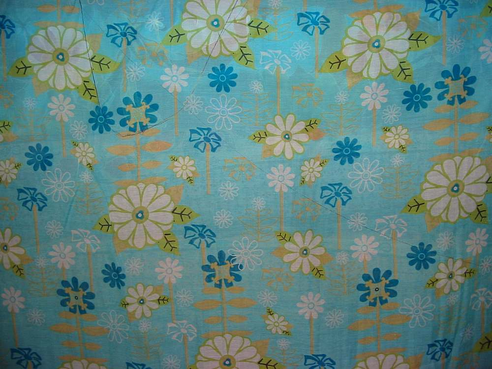 FIE-206-418 / BLUE         / 5 SILK/COTTON VOILE PRINT