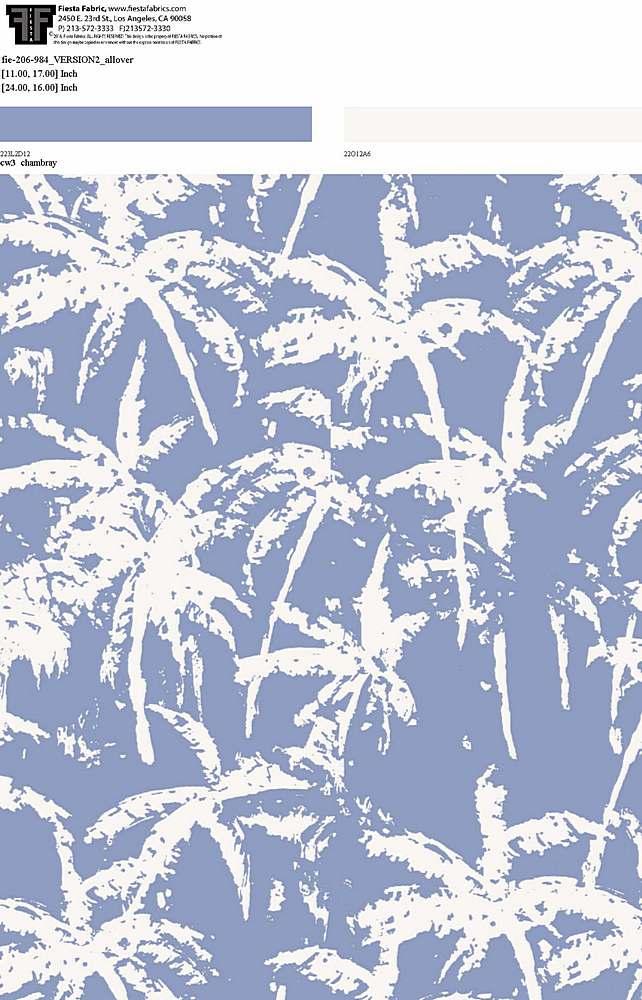 FIE-206-984-35 / DENIM/PFD                 / 100% Rayon Challis Print