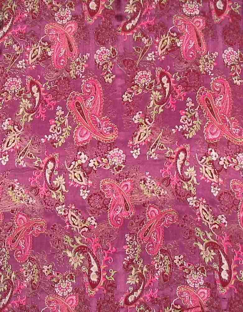 "WB 182 / WINE / 52/54"" SILK SATIN BURN OUT 30% SILK/ 70% RAYON"