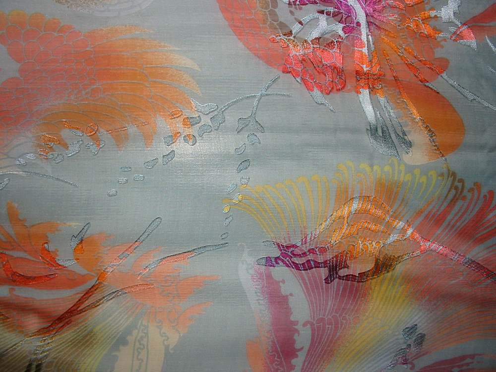 SB 224/P2 / GRAY MULTI         / 30%SILK, 70%RAYON SATIN BURN-OUT, 23 M/M