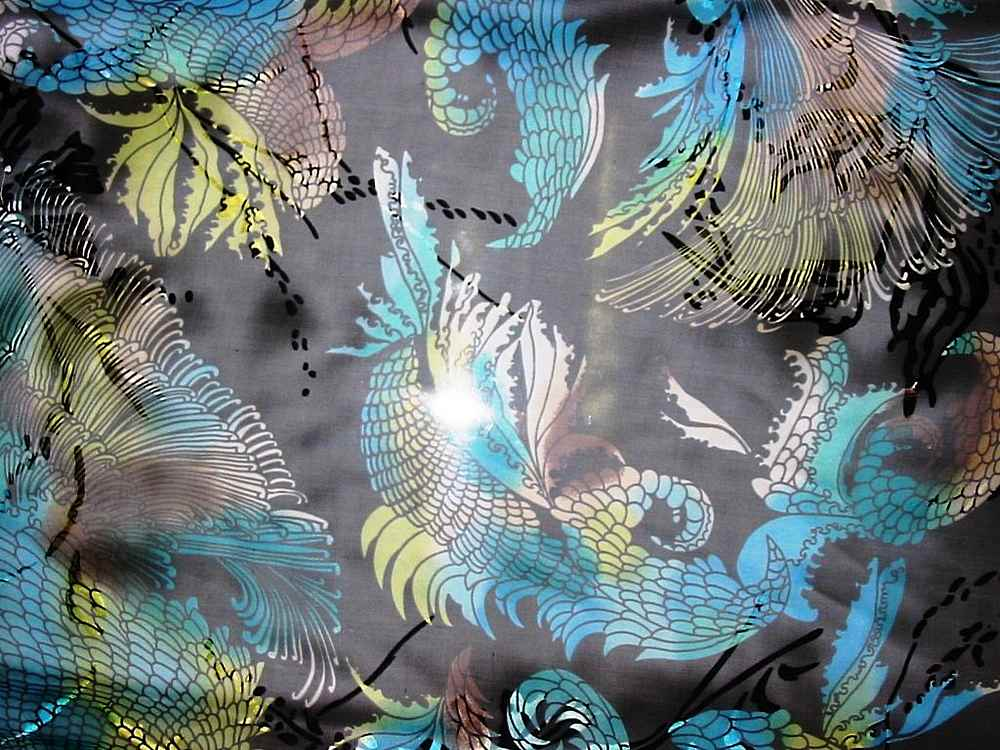 SB 224/P2 / BLACK MULTI         / 30%SILK, 70%RAYON SATIN BURN-OUT, 23 M/M