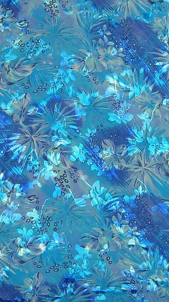 07KY03 / A-BLUE         / 4 SILK SATIN BURN OUT 30% SILK/ 70% RAYON