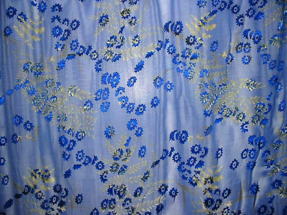 SB 4121P / BLUE         / 4 SILK SATIN BURN OUT 30% SILK/ 70% RAYON