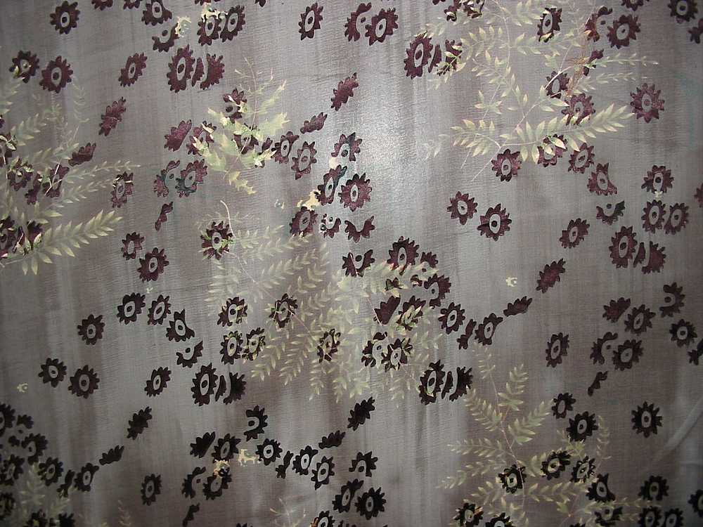 "SB 4121P / BROWN / 44/45"" SILK SATIN BURN OUT 30% SILK/ 70% RAYON"