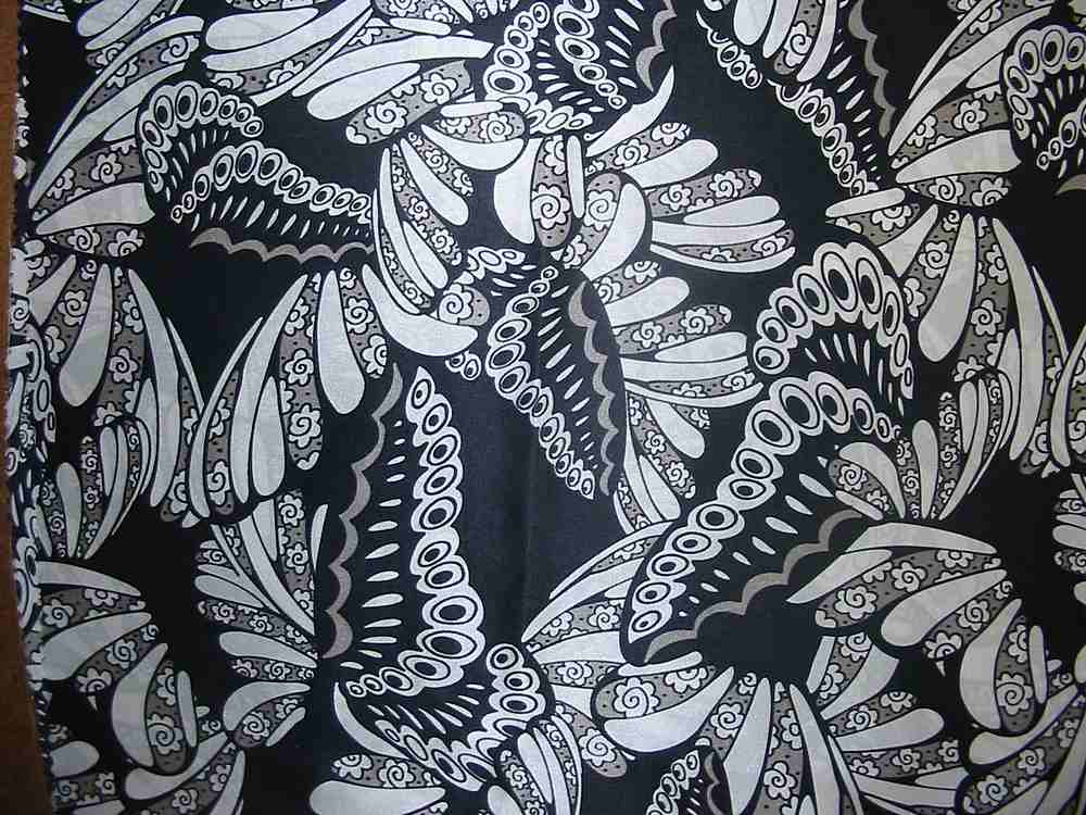 FIE-206-444-4 / BLACK/WHITE                 / SILK/COTTON VOILE PRINT 9 M/M