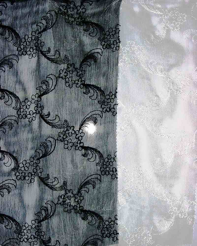 P1012284 / BLACK                 / SILK EMBROIDERY CHIFFON 6 M/M